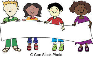 Multi Ethnic Kids Holding Banner   Multicultural Cartoon