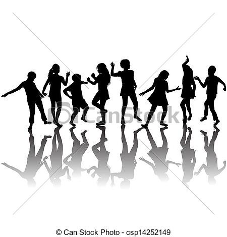 Multicultural Children Dancing Clipart Group Of Children Silhouettes