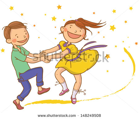 Multicultural Children Dancing Clipart Two Cute Dancing Children With
