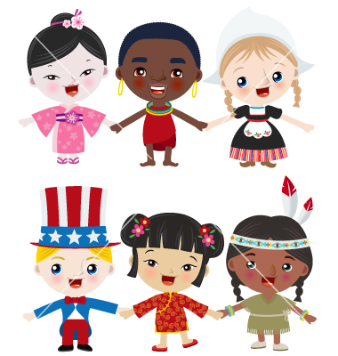 Multicultural Family Cartoon Multicultural Kids Vector