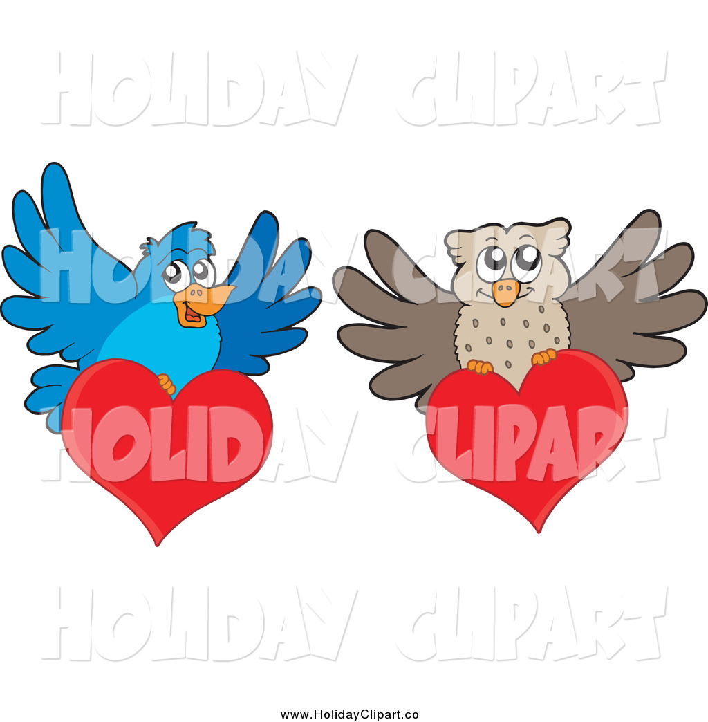 Preview  Holiday Vector Clip Art Of A Blue Bird And Owl With