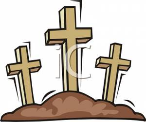 Three Crosses On A Hillside   Royalty Free Clipart Picture