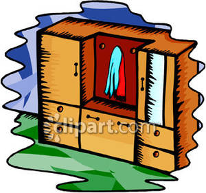 Wardrobe With Drawers And Cabinets   Royalty Free Clipart Picture