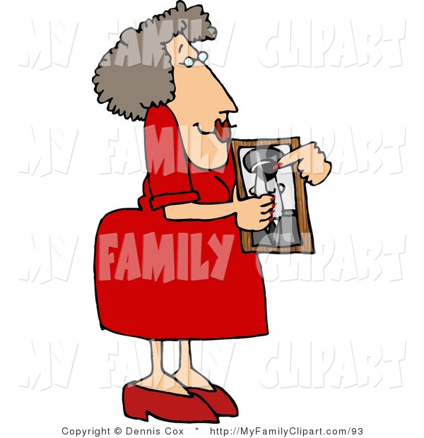 14 Clip Art Of A Proud Mom In Red Showing Picture Her Son Who Helped