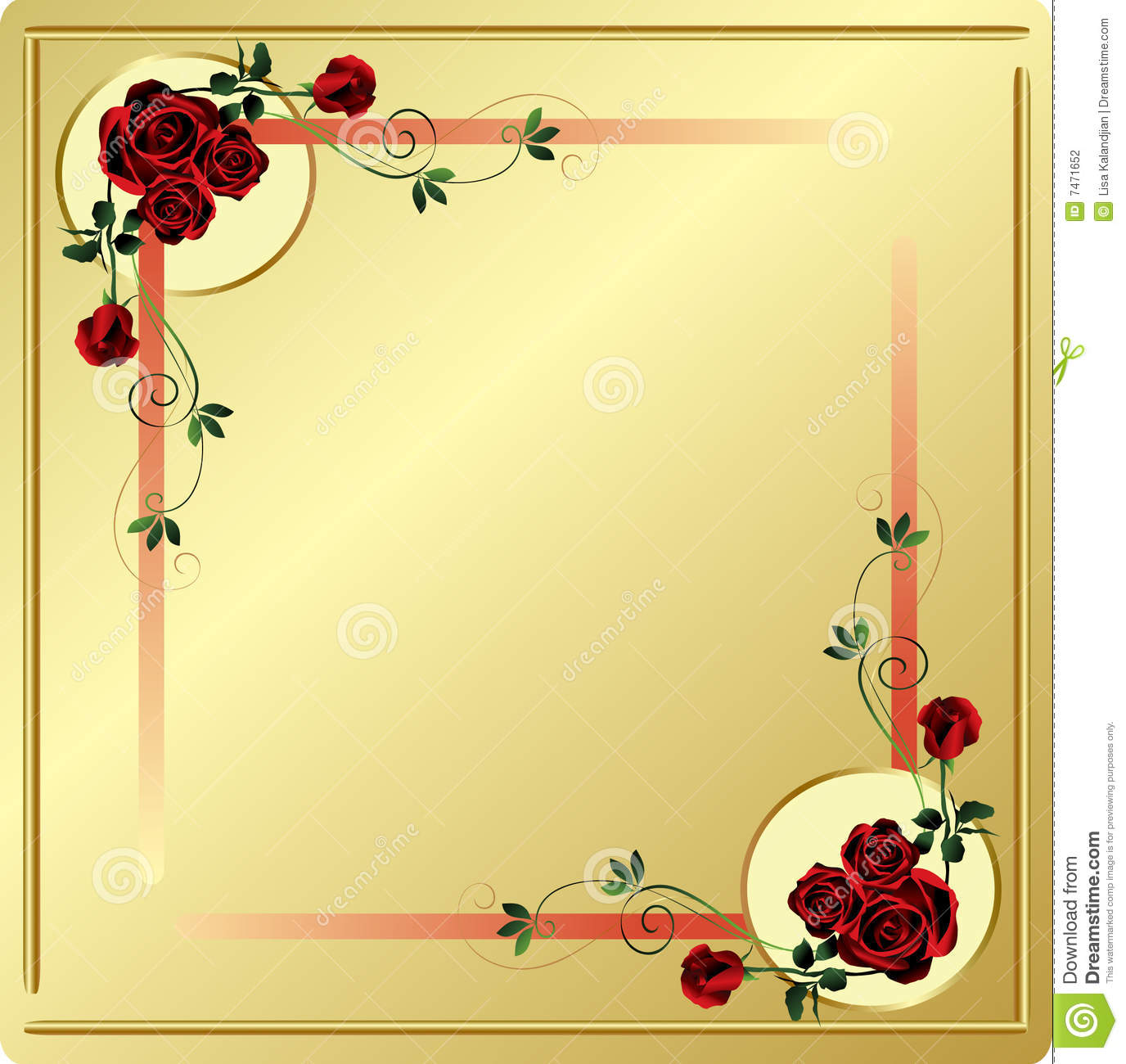 Background For Web Or Print In Gold With Elaborate Detailed Red Roses