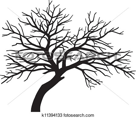 Bare Black Tree Silhouette  Tree Without Leaves Tree Silhouette