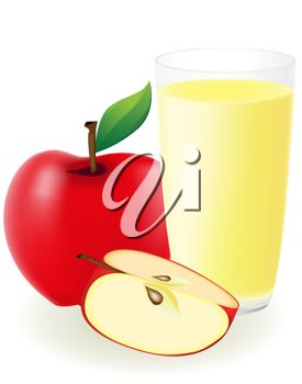 Clip Art Illustration Of An Apple With A Glass Of Apple Juice