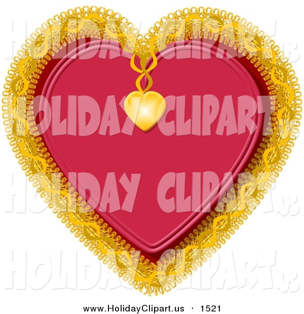 Clip Art Of A Red Heart Decorated With Gold Trim And A Small Gold