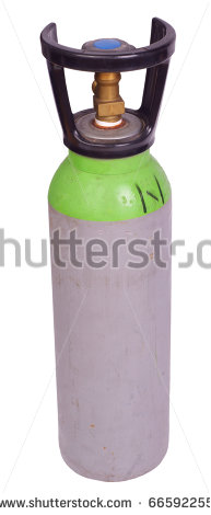 Green Bottle Of Argon Welding Gas Isolated Against Background   Stock