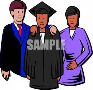 Parents Posing With Their Graduating Student   Royalty Free Clipart