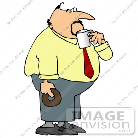 Business Man Drinking Coffee And Holding A Donut Clipart    14888 By
