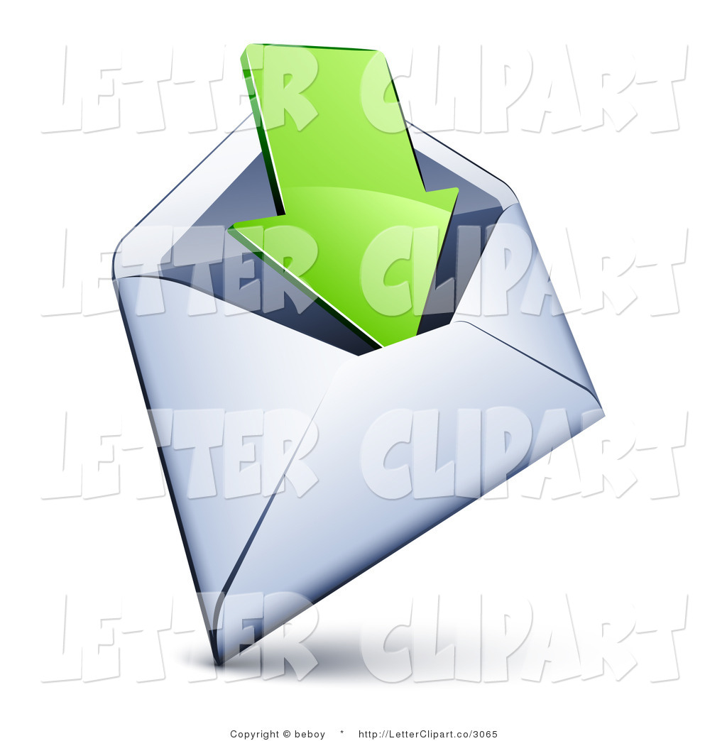 Clip Art Of A White Email Envelope With A Green Arrow Pointing Inside