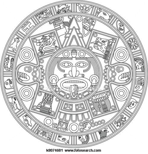 Clipart Of Mayan Calendar Line Illustration K8074681   Search Clip Art