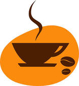 Cup Of Coffee With Coffee Bean On Orange Background   Clipart Graphic