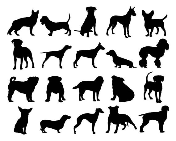 Dog Clipart Puppy Silhouette Clipart Hound Clipart Pug Clipart Pet