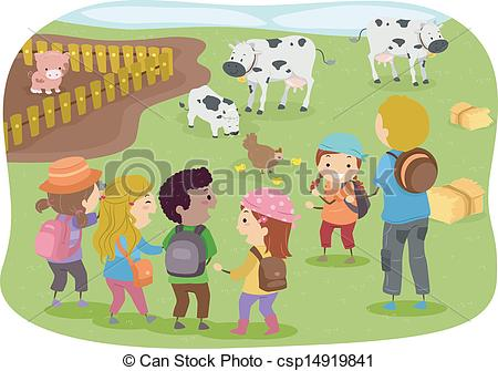 Eps Vector Of Stickman Kids School Trip To Farm   Illustration Of
