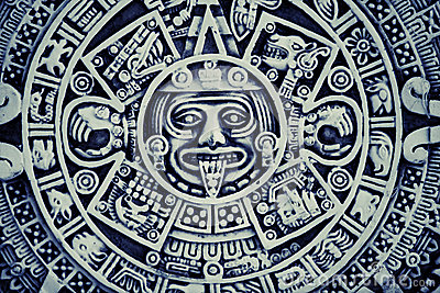 Mayan Calendar Background With Carved Work