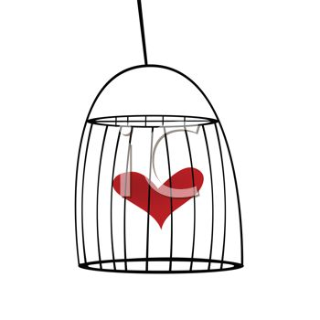 Royalty Free Clip Art Image  Heart Inside A Bird Cage