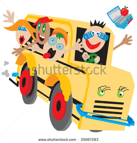 Wacky Bus On A Wild Ride Too Or From School Field Trip Camp Clipart