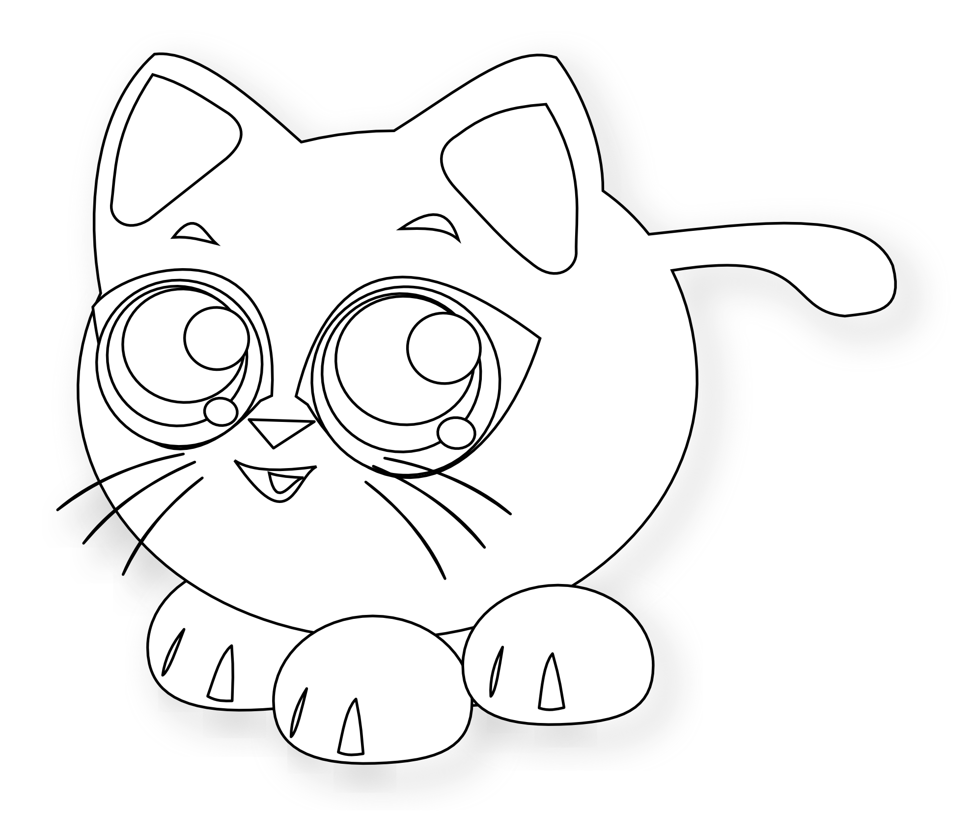 Line Drawings Of Baby Animals : Baby cat black white line art christmas xmas stuffed