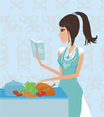Beautiful Lady Cooking   Clipart Graphic