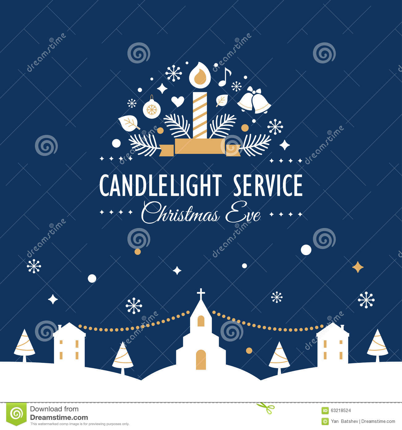 Christmas Eve Candlelight Service Invitation Card Stock Illustration