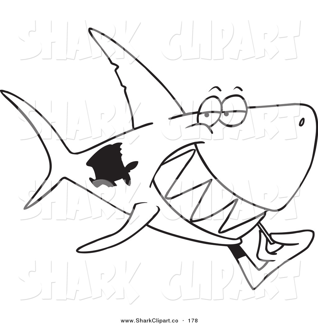 Clip Art Of A Coloring Page Outline Of A Grinning Shark Using A