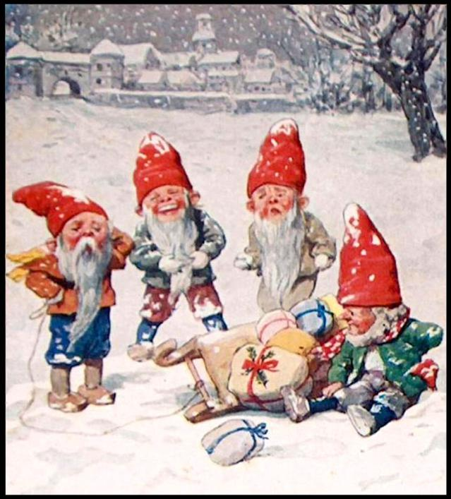Clip Art Of A Vintage Christmas Elves Card   Public Domain Image