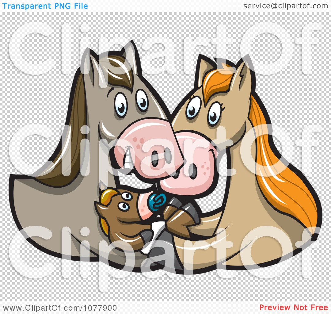 Clipart Horse Parents And Baby Foal   Royalty Free Vector Illustration