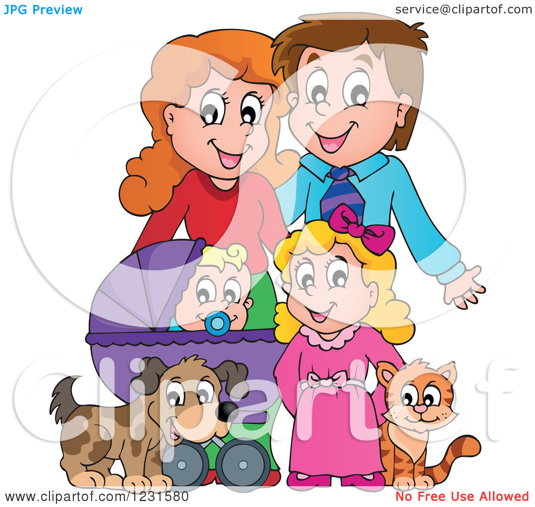 Clipart Of Happy Parents With A Baby Daughter Dog And Cat   Royalty