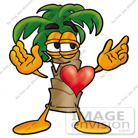 Crush Clipart 24988 Clip Art Graphic Of A Tropical Palm Tree Cartoon