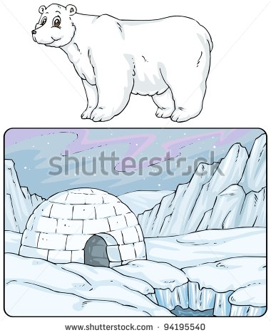 Igloo North Pole   Landscape With Polar Bear   Cartoon Illustrations