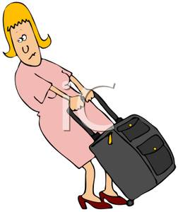 Pink Dress Carrying Heavy Luggage   Royalty Free Clipart Picture
