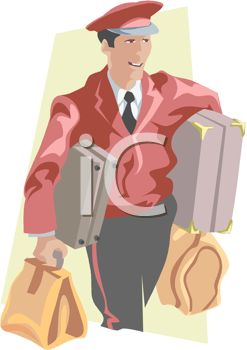 Royalty Free Clipart Image Hotel Service Staff Carrying Luggage For A
