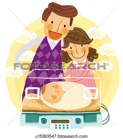 Stock Illustration   Parents Looking At Newborn Baby In An Incubator