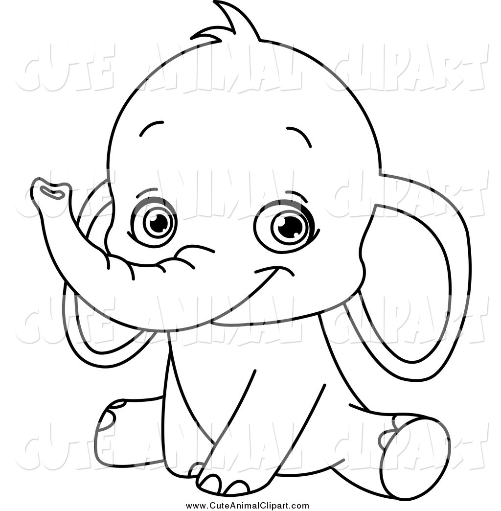 Baby Animal Black And White Clipart - Clipart Kid