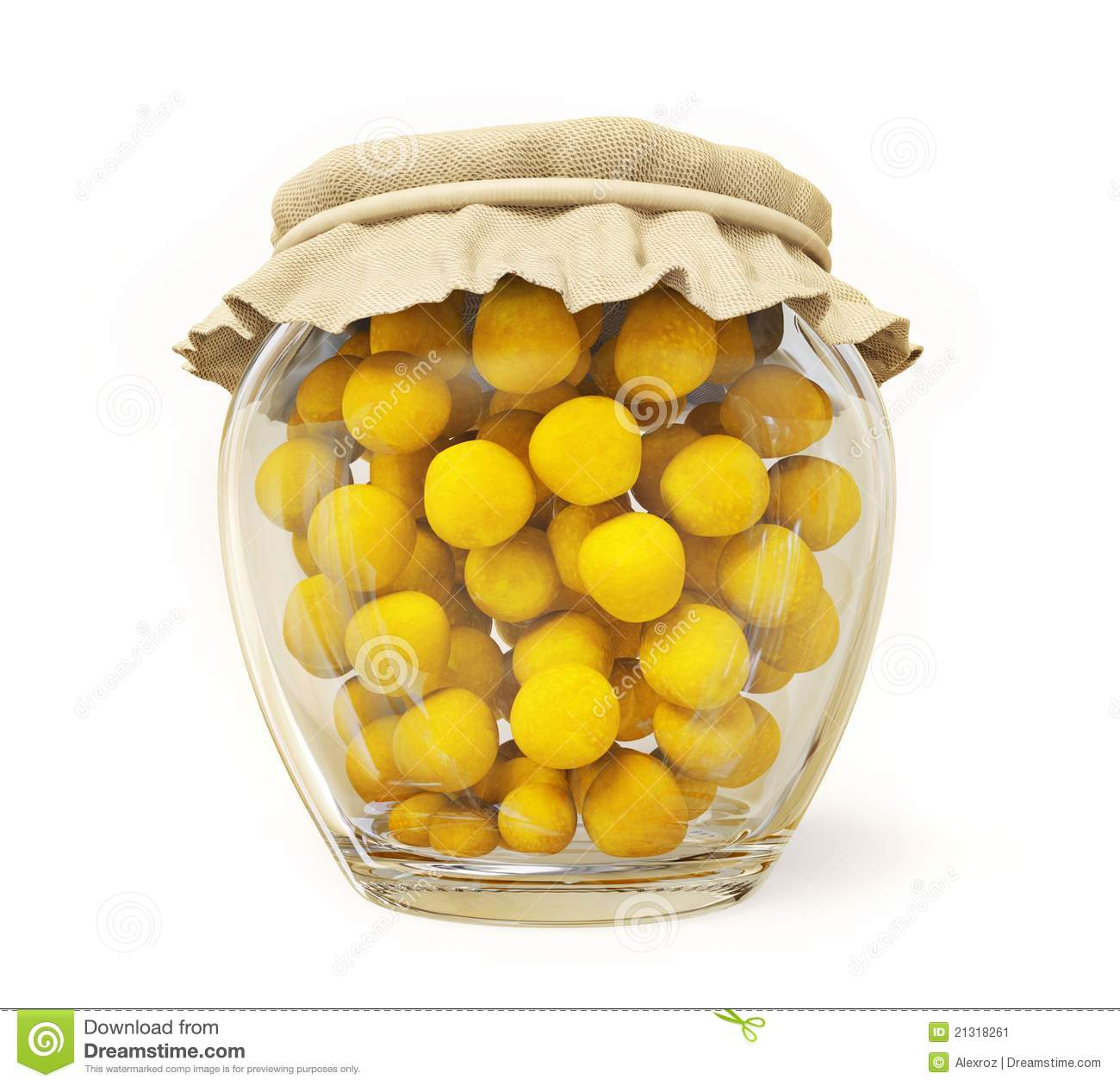 Canned Fruits In A Glass Jar Isolated On White