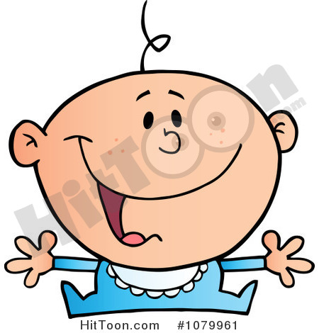 Clipart Happy Caucasian Baby Holding His Arms Out   Royalty Free