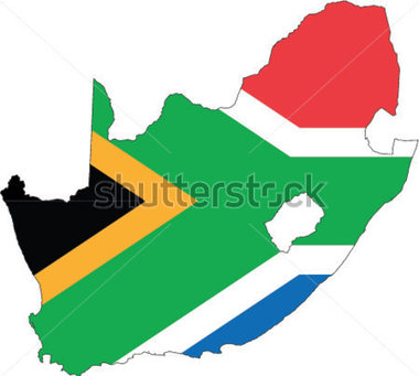 Country Shape Outlined And Filled With The Flag Of South Africa Stock