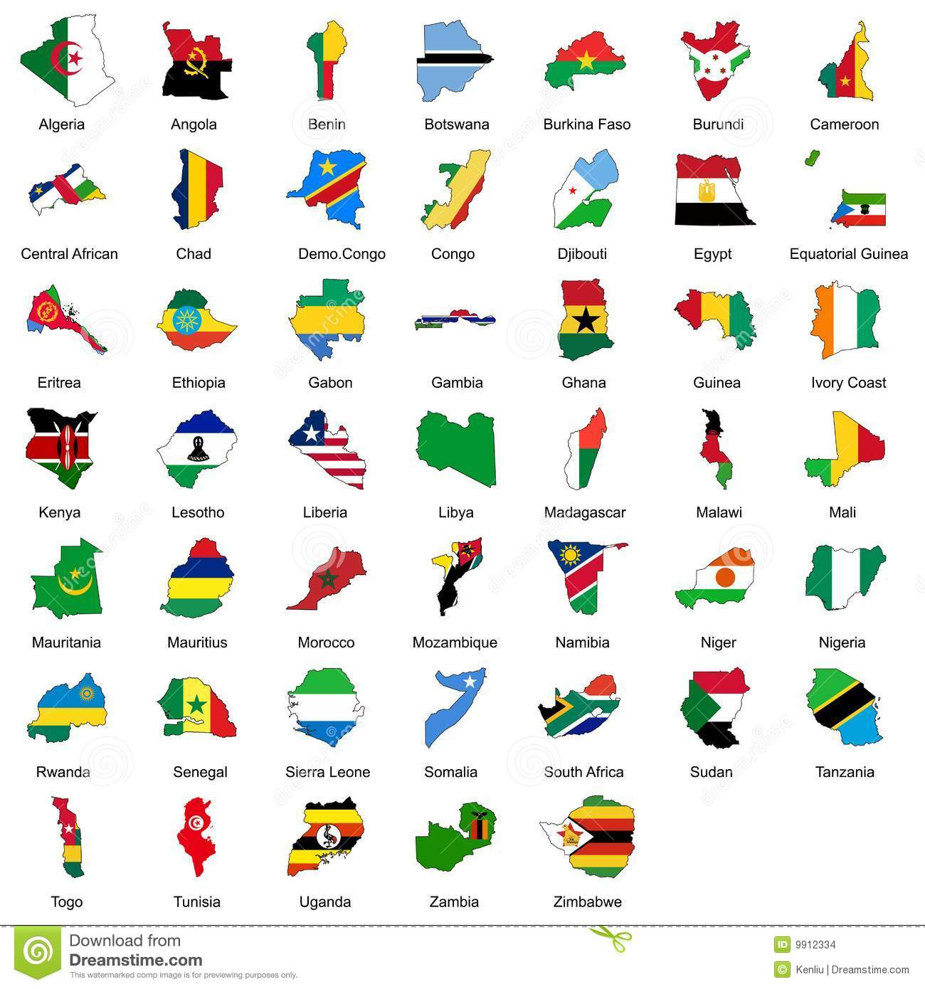 Detailed Vector Illustration Of 47 African Country Flags