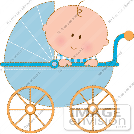 Royalty Free Clipart Of A Curious Baby Boy In A Blue Carriage Peeking