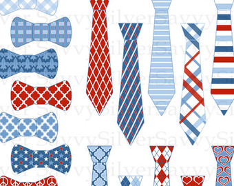 White Blue Patriotic Printable Tie Bow Clip Art Scrapbook Or Invites