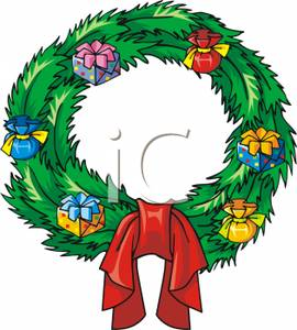 Cartoon Of A Christmas Wreath With Tiny Gifts Decorated Around It And