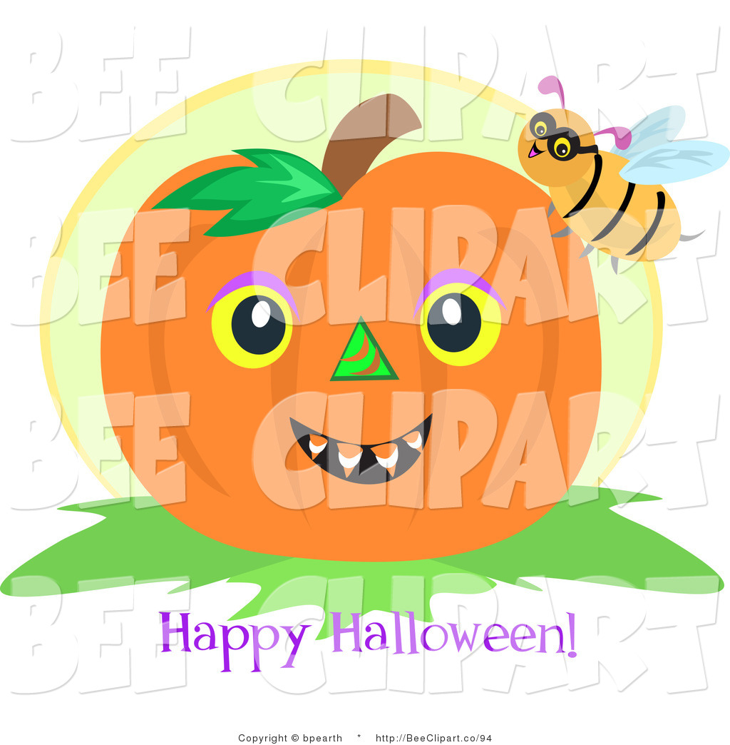 Clip Art Of A Bumble Bee On A Pumpkin With A Happy Halloween Greeting