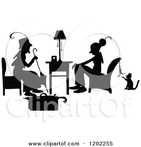 Clipart Of Vintage Black And White Silhouetted Ladies Talking