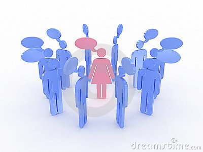 Free Stock Photography  Symbols Of Men Around The Women Talking  3d