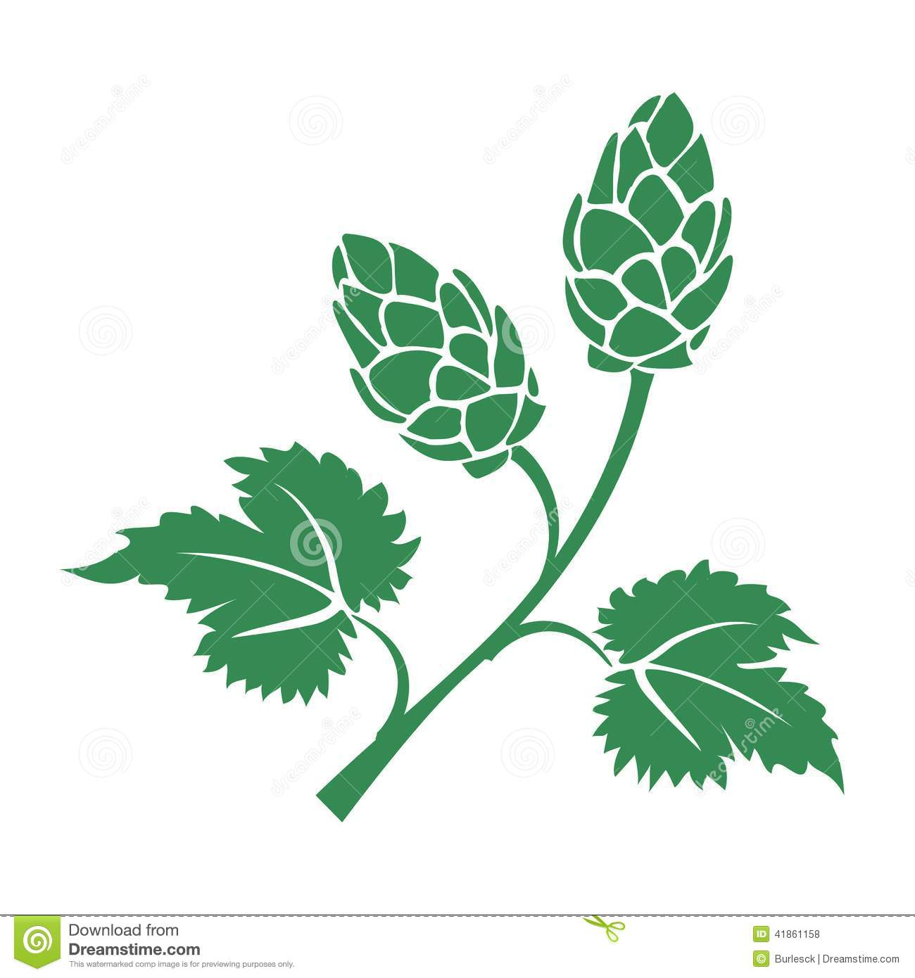 Green Vector Silhouette Hops Icon With Leaves And Cone Like Flowers