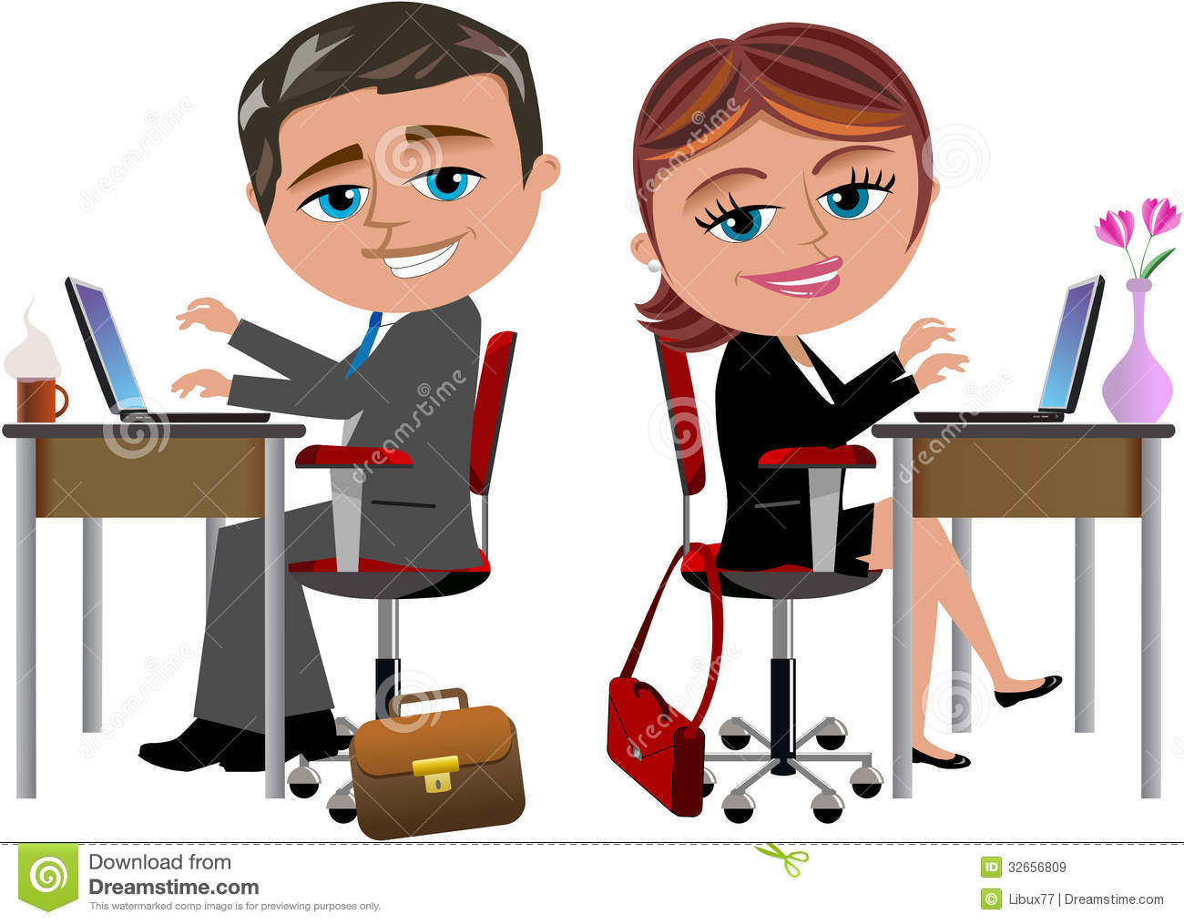 Illustration Featuring Bob And Meg Working With Computer At Office