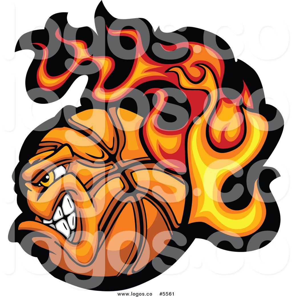 Logo Of A Profiled Tough Flaming Basketball Logo Of A Fiery American