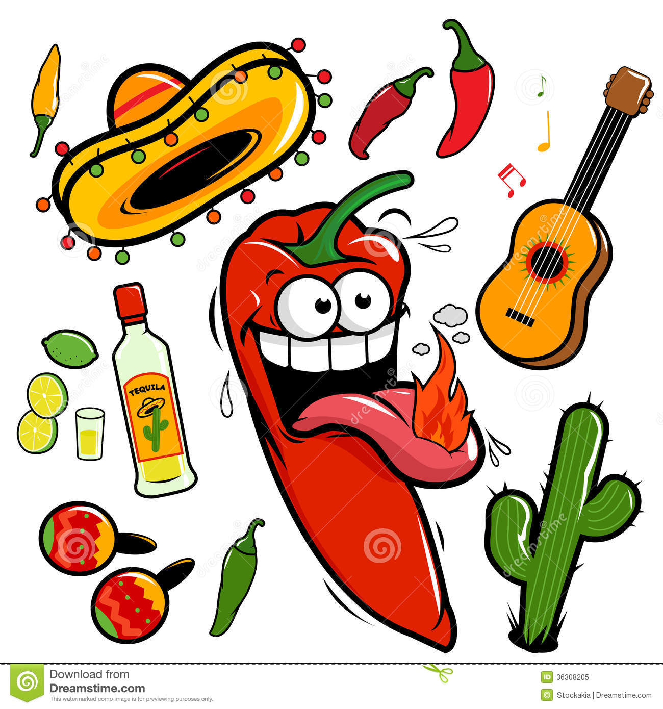 Mariachi Chili Pepper Mexican Icon Collection Royalty Free Stock Photo